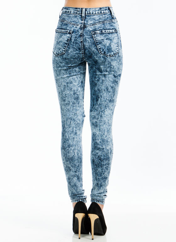 Knee Bend Destroyed Jeans DKBLUE