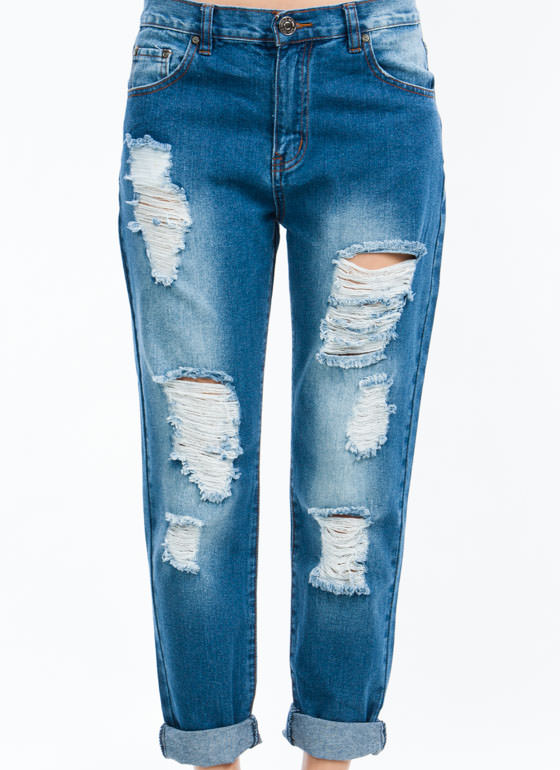 No Stress Distressed Boyfriend Jeans BLUE