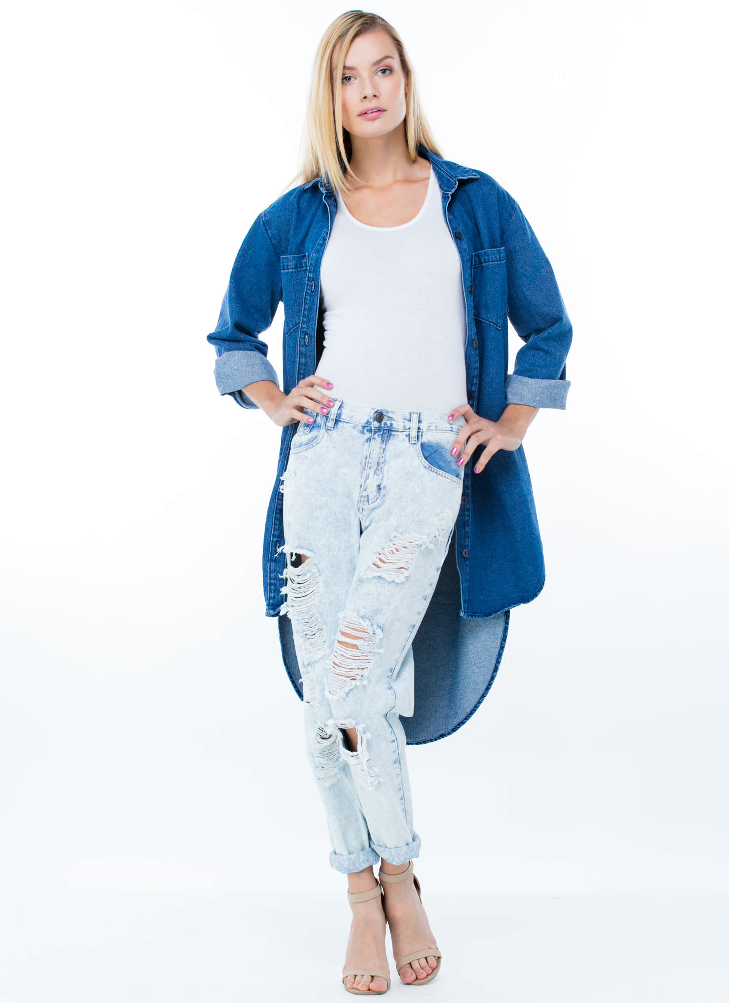 No Stress Distressed Boyfriend Jeans LTBLUE