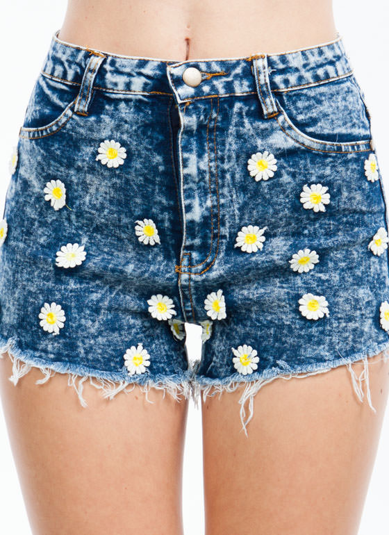 Daisy Dukes Frayed Acid Wash Shorts DKBLUE