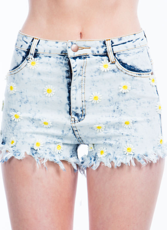 Daisy Dukes Frayed Acid Wash Shorts LTBLUE