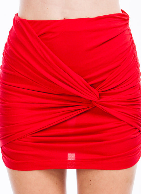 Knot So Average Mini Skirt  RED