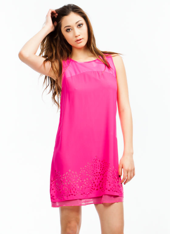 Geometric Play Laser Cut Out Dress HOTPINK (Final Sale)