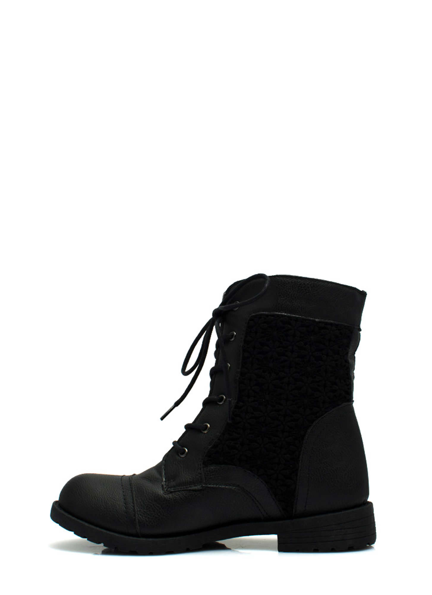 Daisy Daze Crochet Lace-Up Boots BLACK