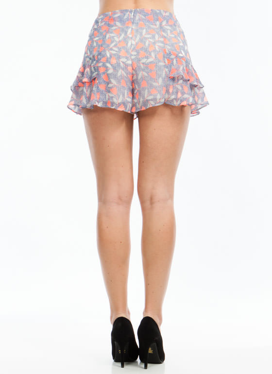 Floral N Dots Shorts BLUECORAL