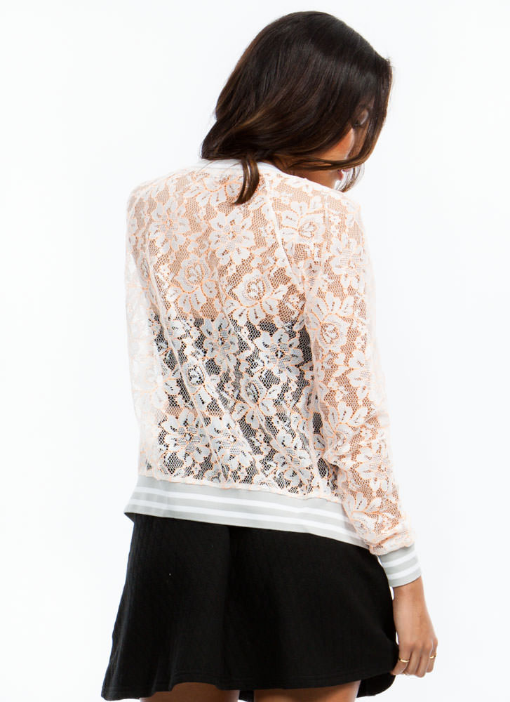 Lace Statement Bomber Jacket NEONCORAL