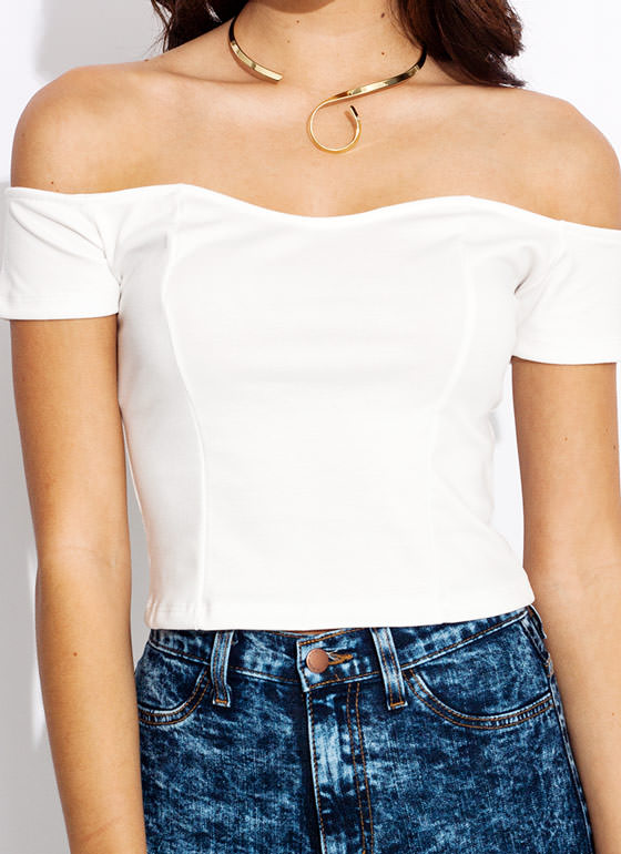 Scuba Sweetheart Cropped Top IVORY