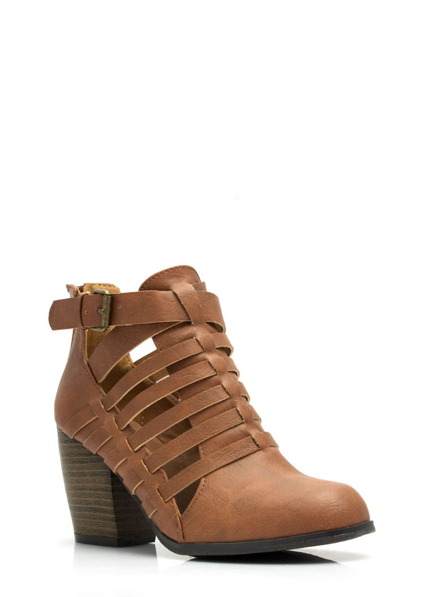 Strappy Times Booties COGNAC