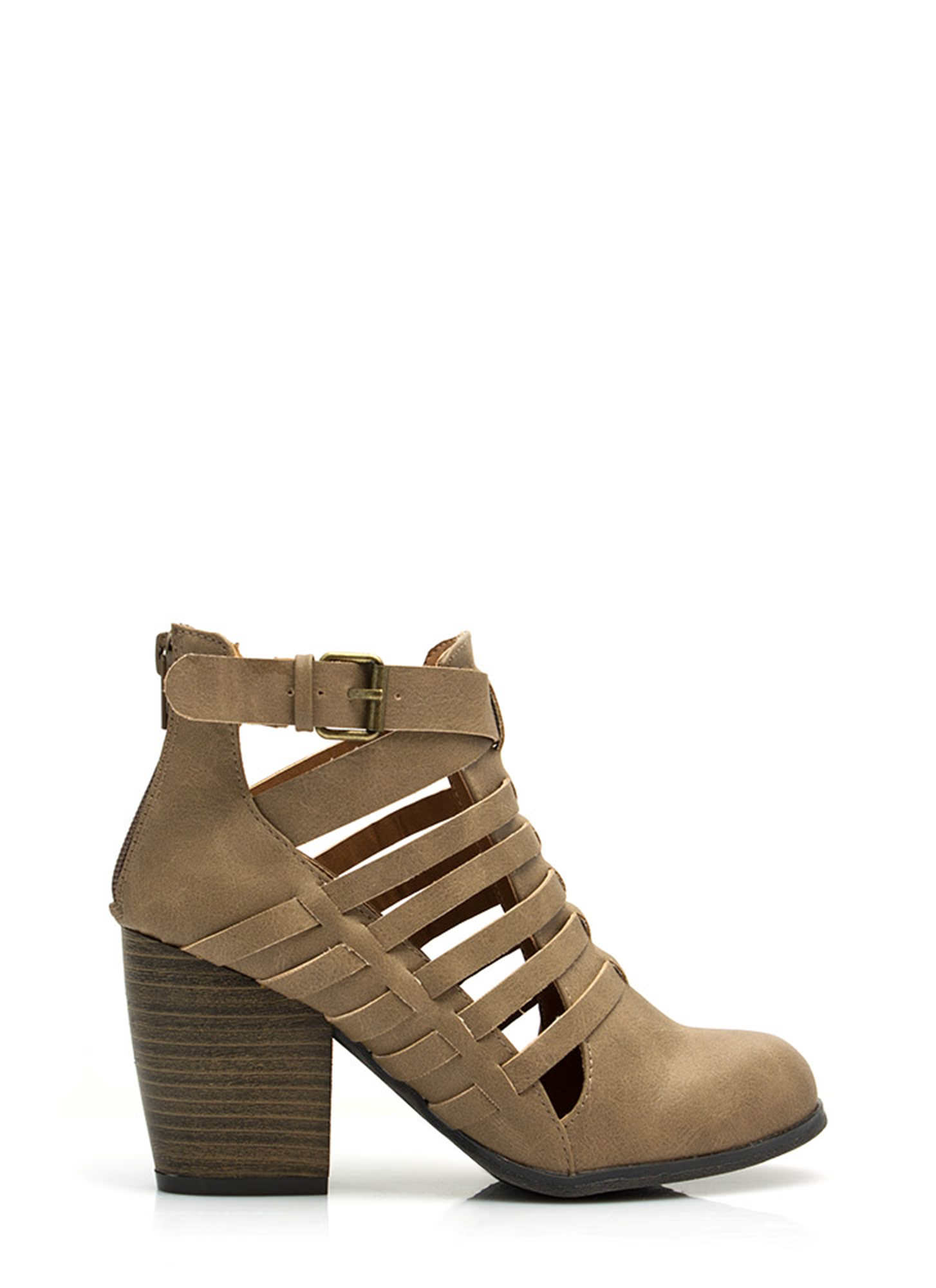 Strappy Times Booties TAUPE