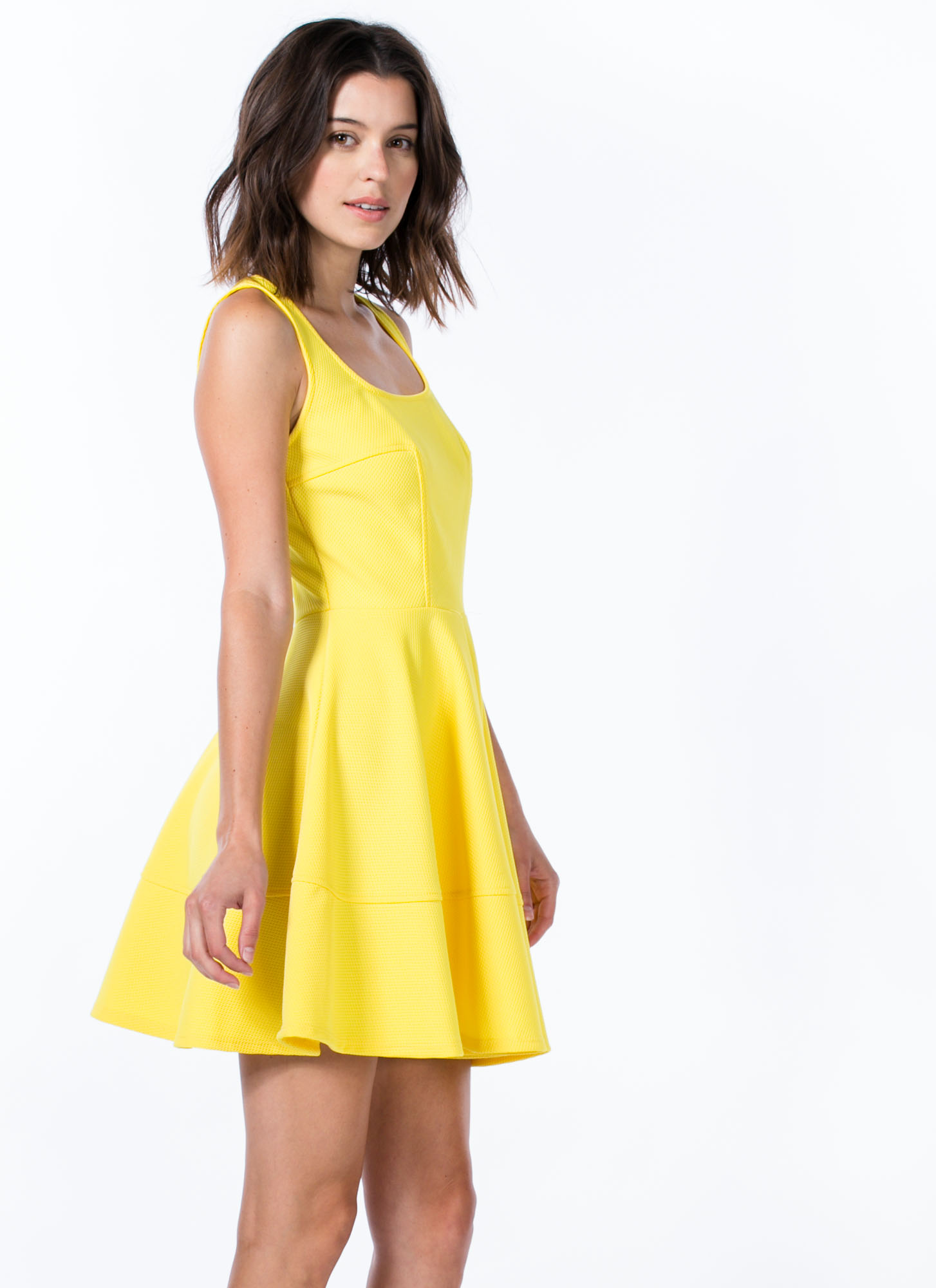 Textured Panel Skater Dress YELLOW