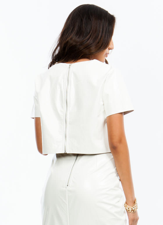 Slick Patent Cropped Top WHITE
