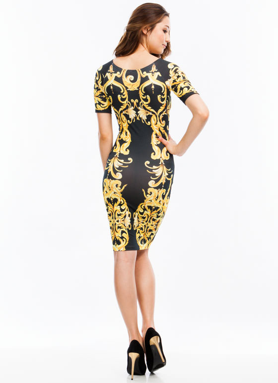 Brocade Print Midi Dress BLACKGOLD