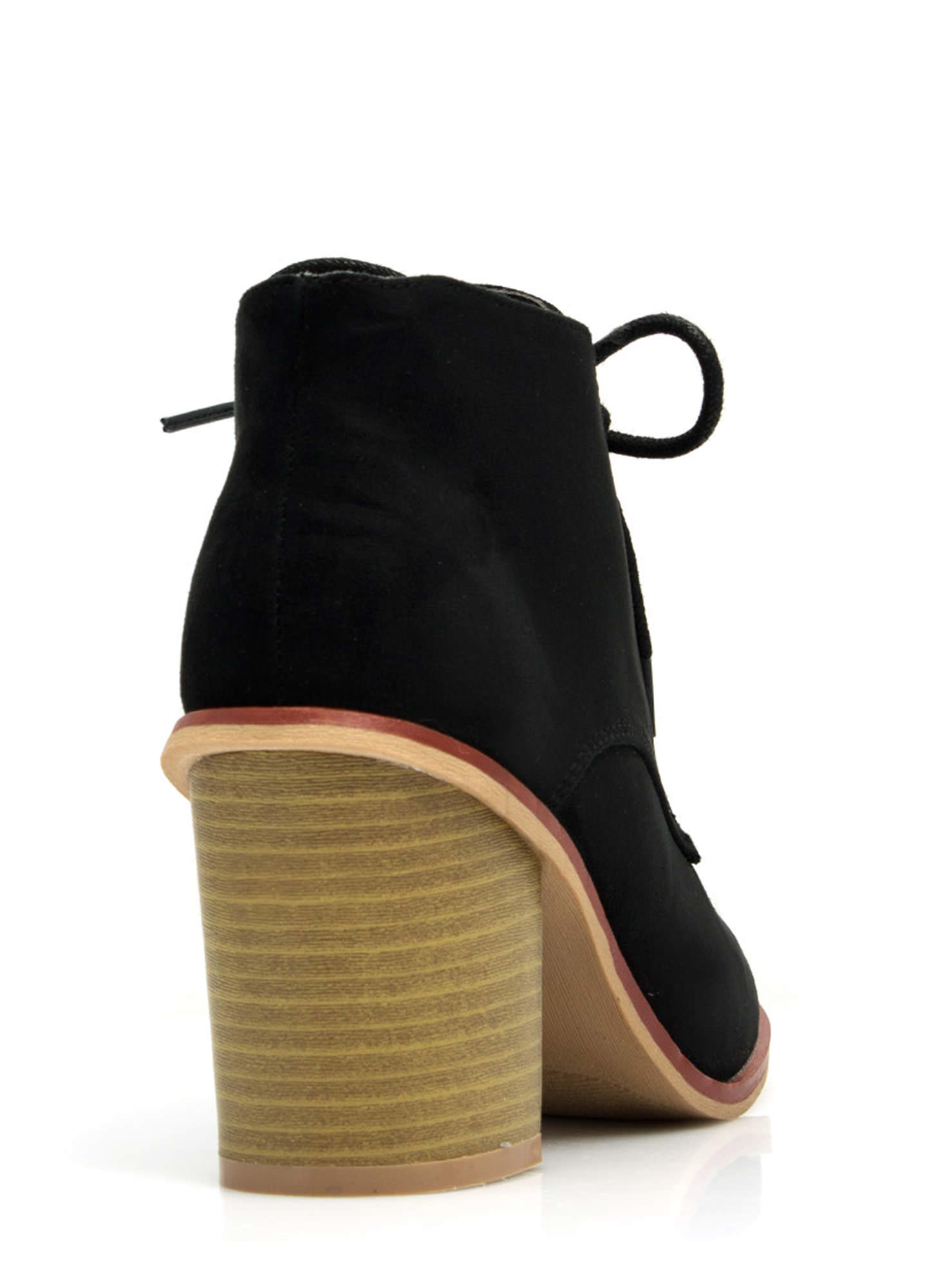 Get Laced Faux Suede Booties BLACK (Final Sale)