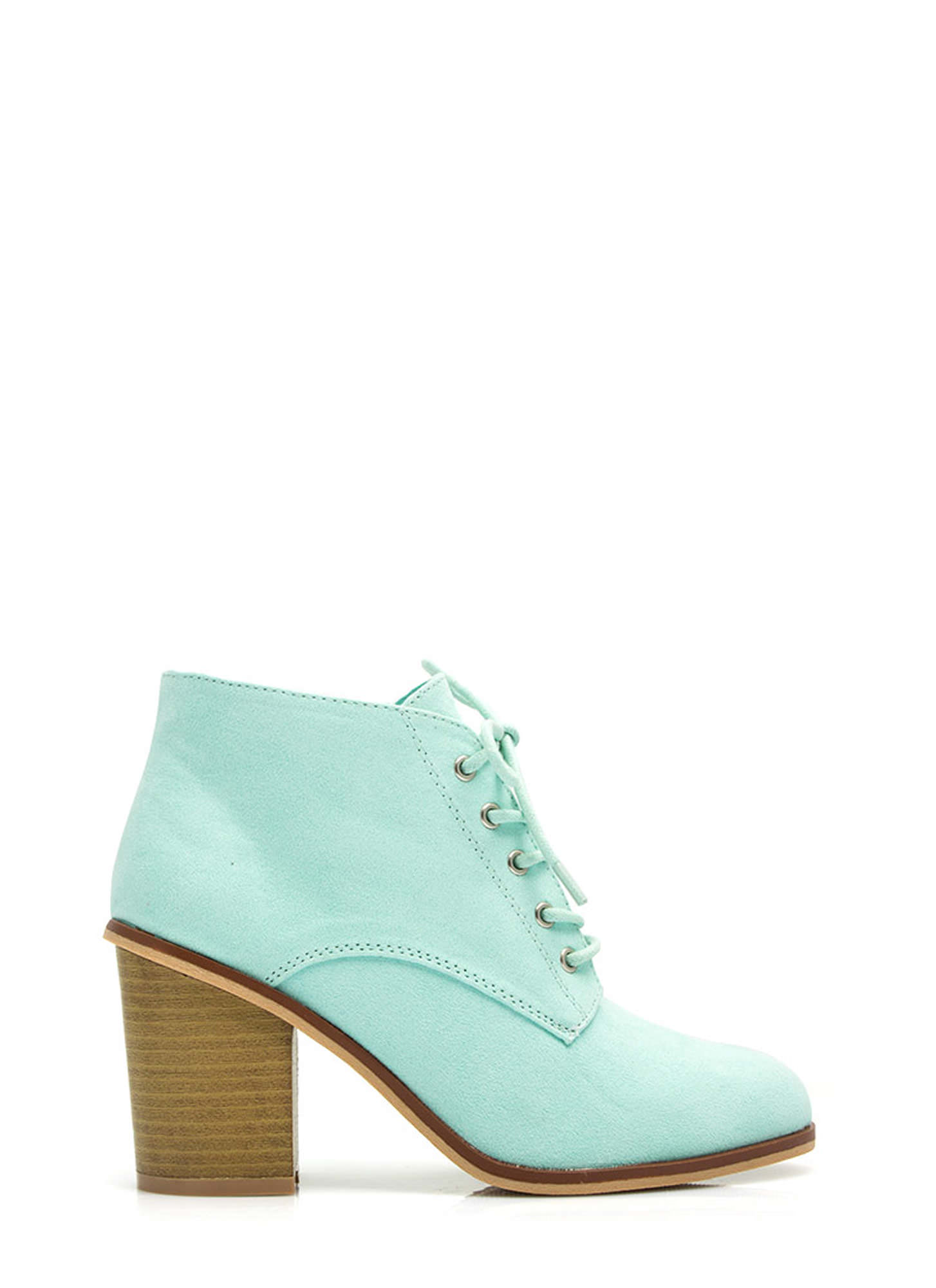 Get Laced Faux Suede Booties MENTHOL (Final Sale)