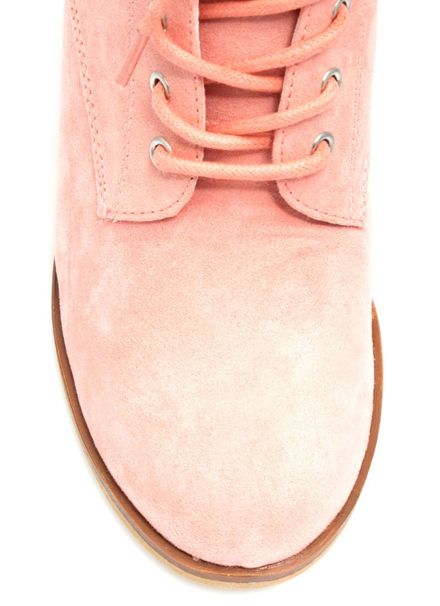 Get Laced Faux Suede Booties SALMON