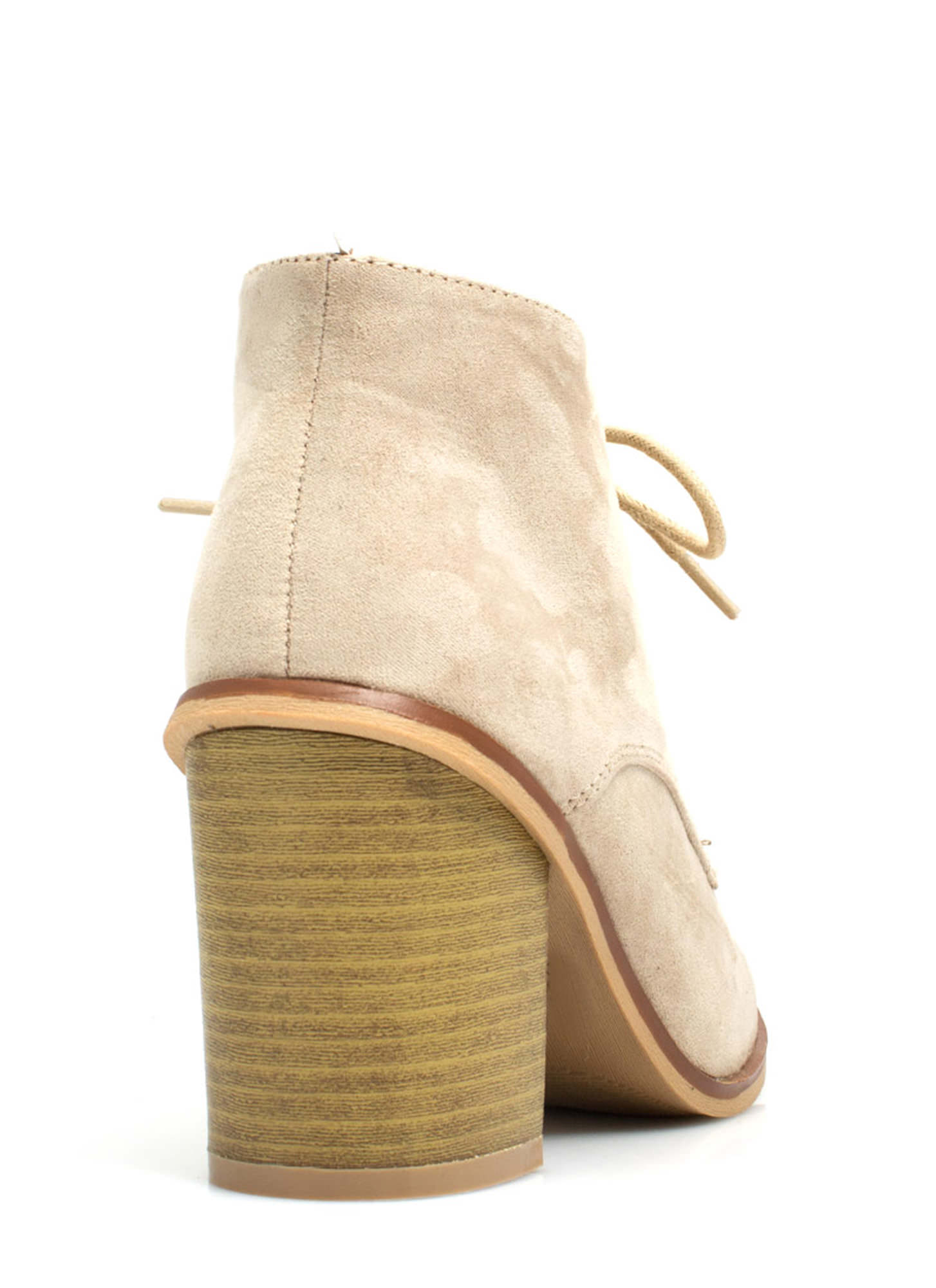 Get Laced Faux Suede Booties TAUPE (Final Sale)