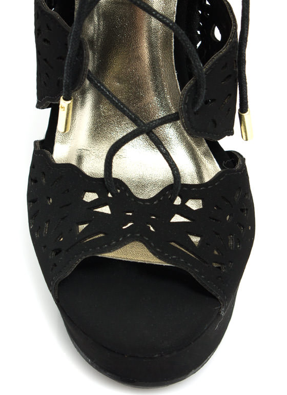 Lovely Laser Cut-Out Lace-Up Wedges BLACK