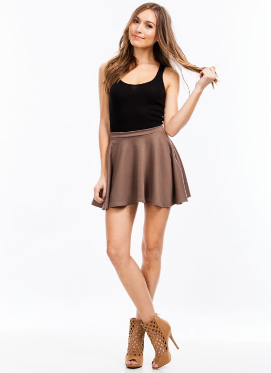 Let's Play Flare Skater Skirt MOCHA