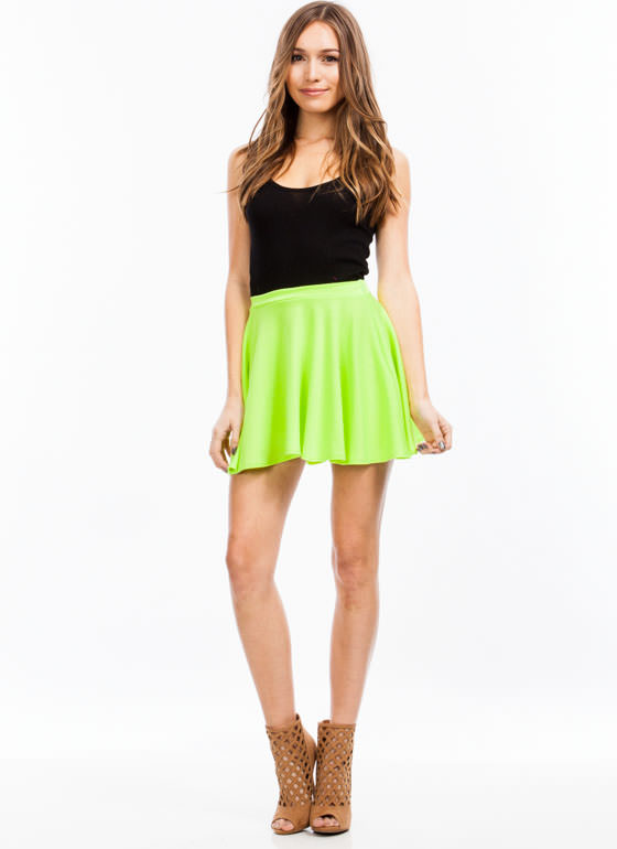 Let's Play Flare Skater Skirt NEONYELLOW