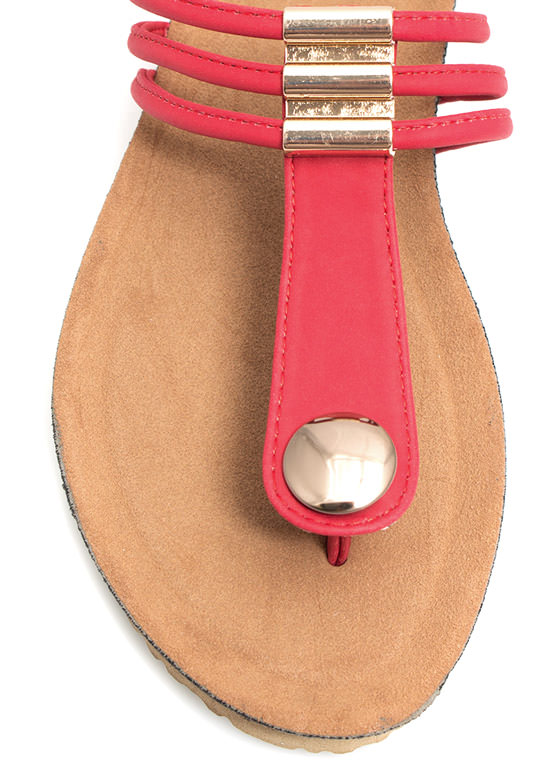Tri-Cord Metal Accent Sandals RED