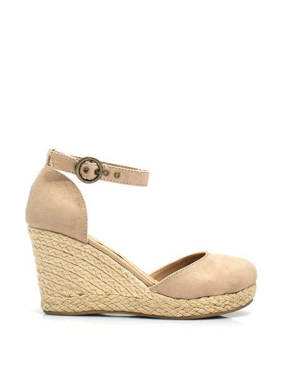 Faux Suede Espadrille Wedges TAUPE