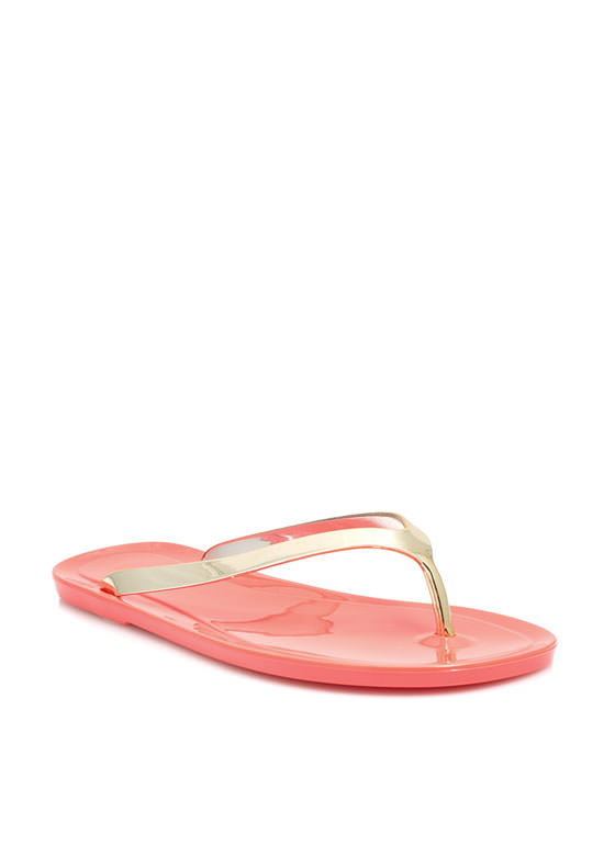 Metallic Jelly Thong Sandals CORAL