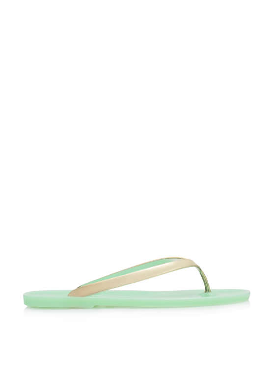 Metallic Jelly Thong Sandals MINT