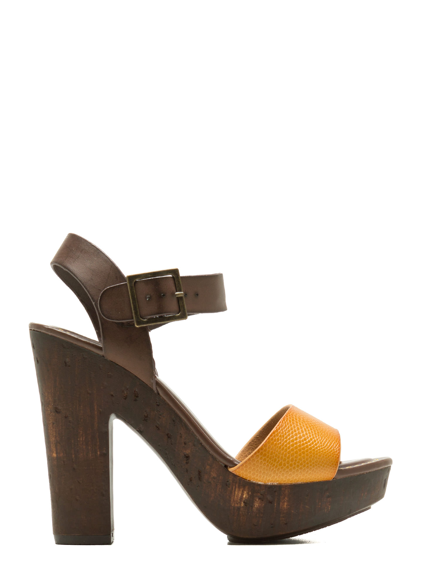 Hi Scale Chunky Faux Wood Platforms MUSTARD (Final Sale)