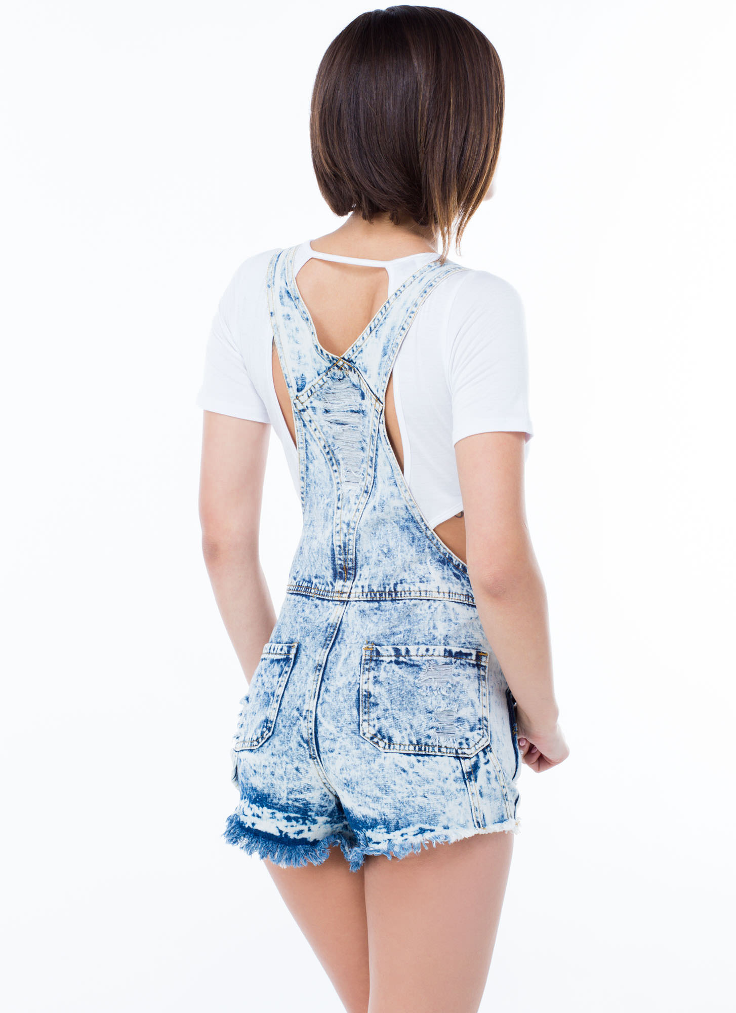 Destruction Zone Acid Wash Shortalls LTBLUE