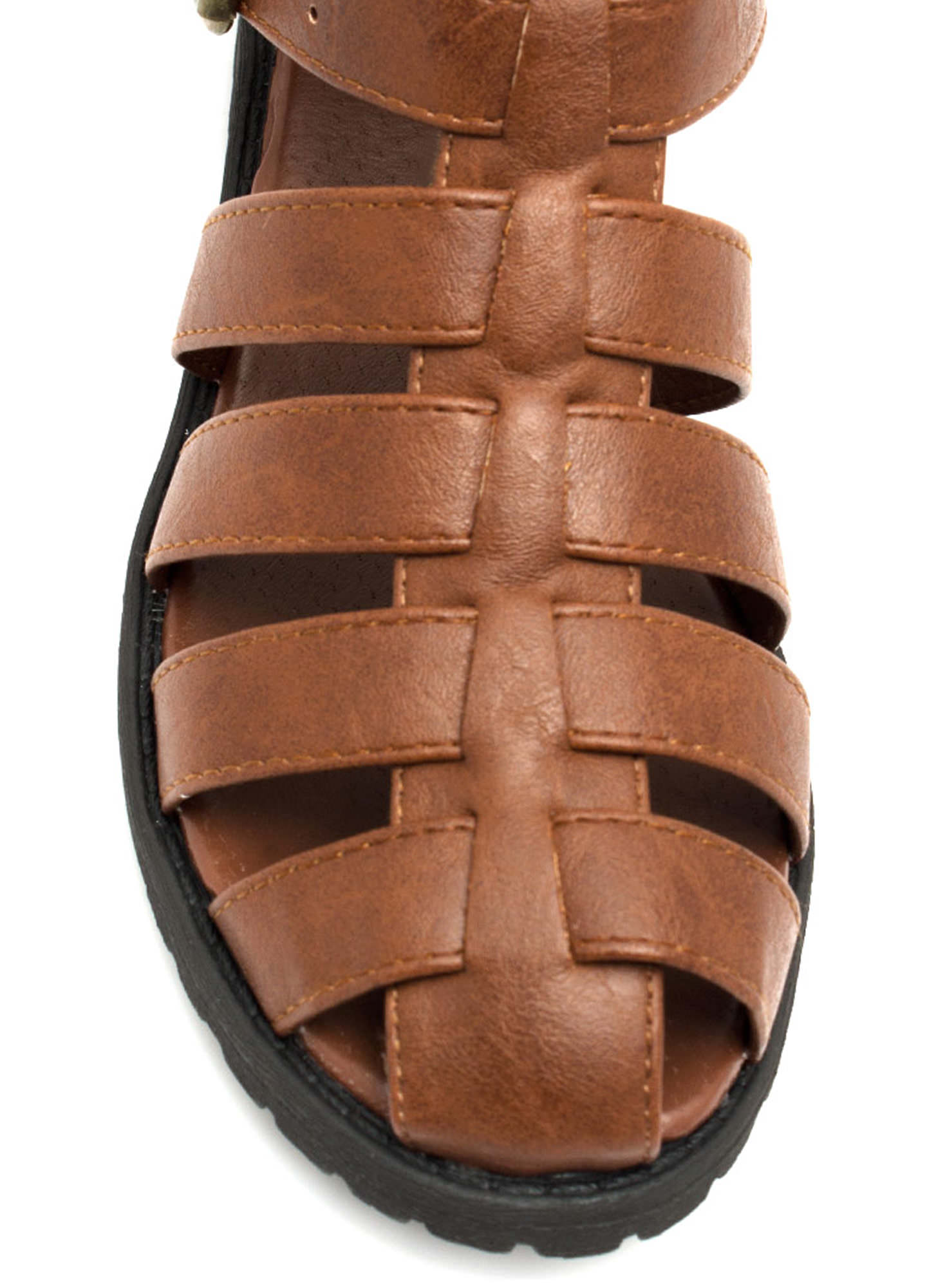 Caged Tri-Buckle Booties COGNAC