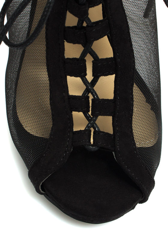 All Meshed Up Strappy Lace-Up Heels BLACK