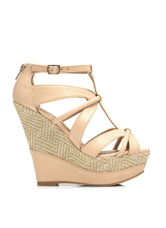 Woven Woman Platform Wedges NUDE