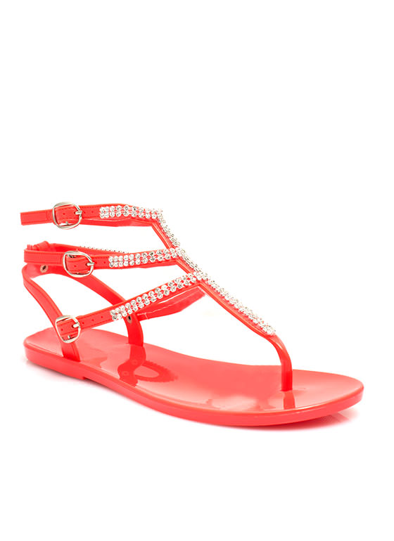 Glam Power Rhinestone Sandals CORAL