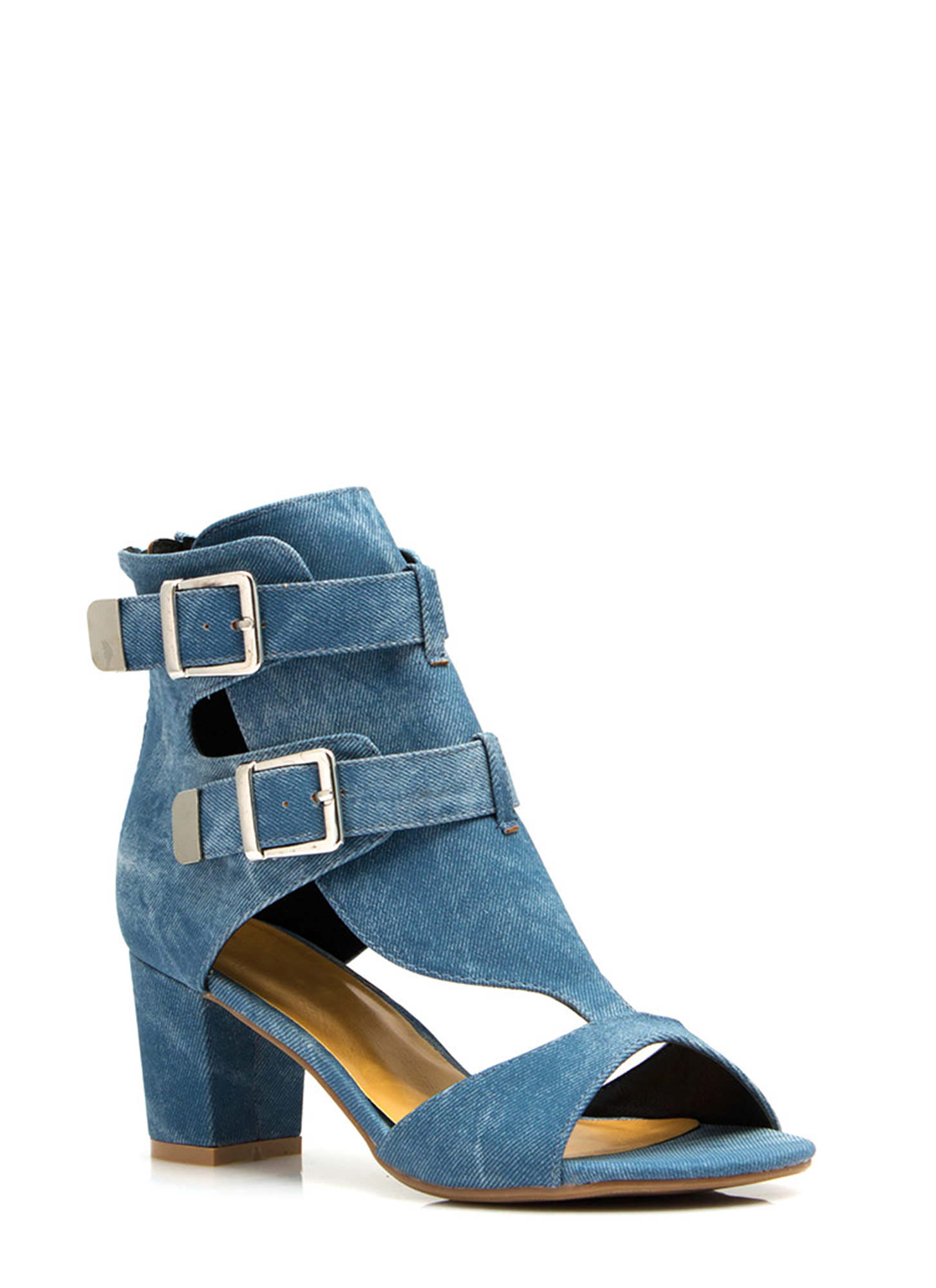 Double Buckle Ankle Boots BLUE