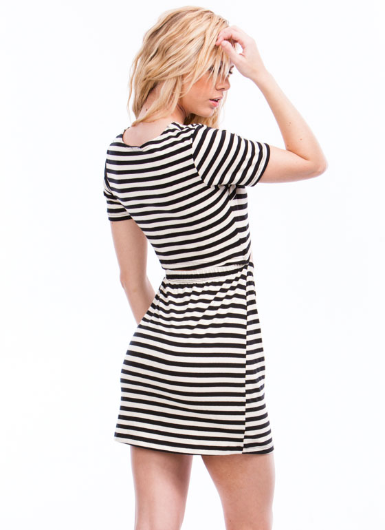 One-Two Punch Striped Cut-Out Dress BLACKWHITE