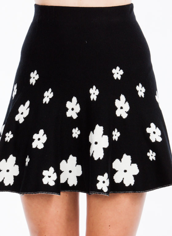 Daily Daisy Fit N Flare Skirt BLACK