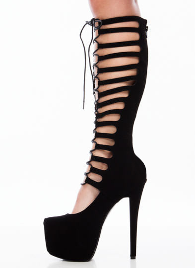 Lace To The Top Gladiator Platforms BLACK