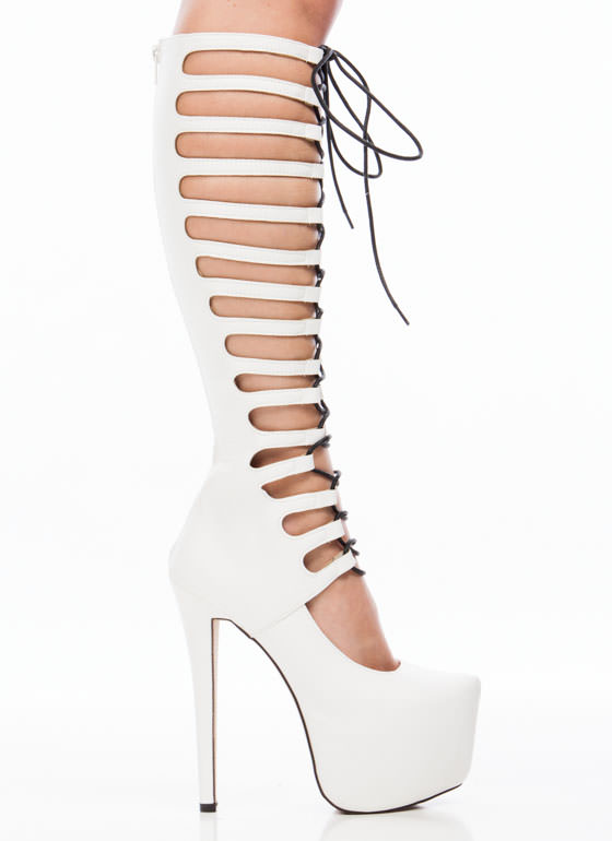 Lace To The Top Gladiator Platforms WHITE