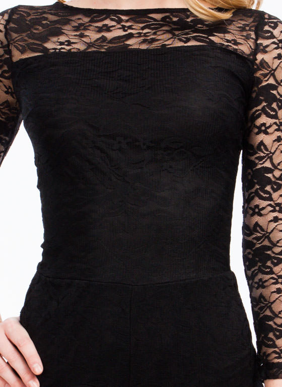 Traced In Lace Romper BLACK