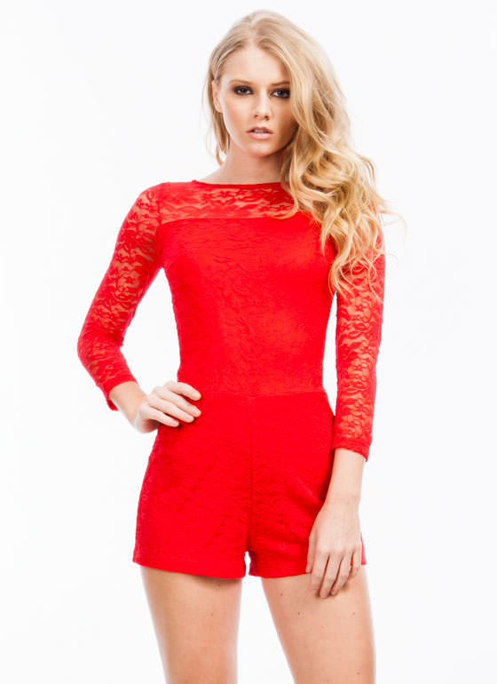 Traced In Lace Romper RED