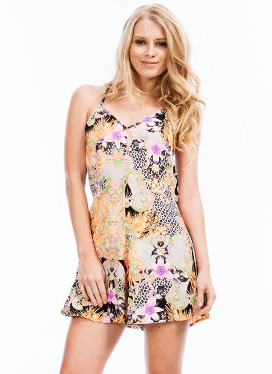 Mixed Feelings Romper ORANGEPINK