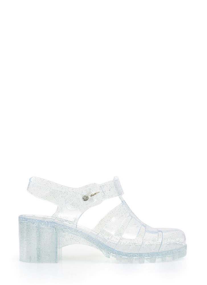 90s Throwback Jelly Sandals CLEAR