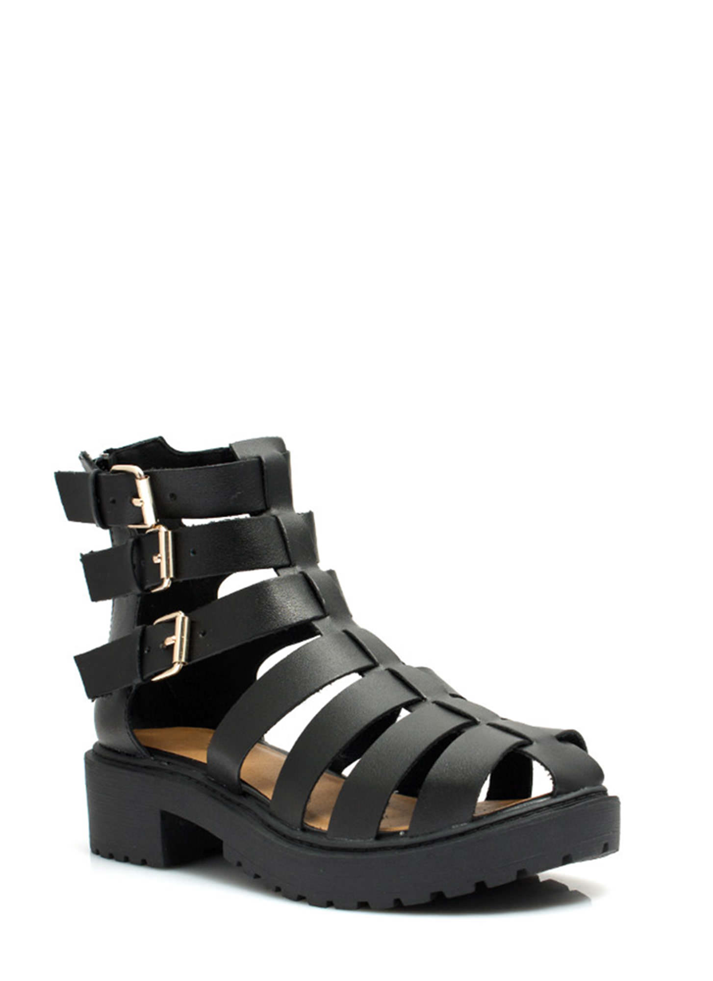 Tri-Cage Buckled Booties BLACK