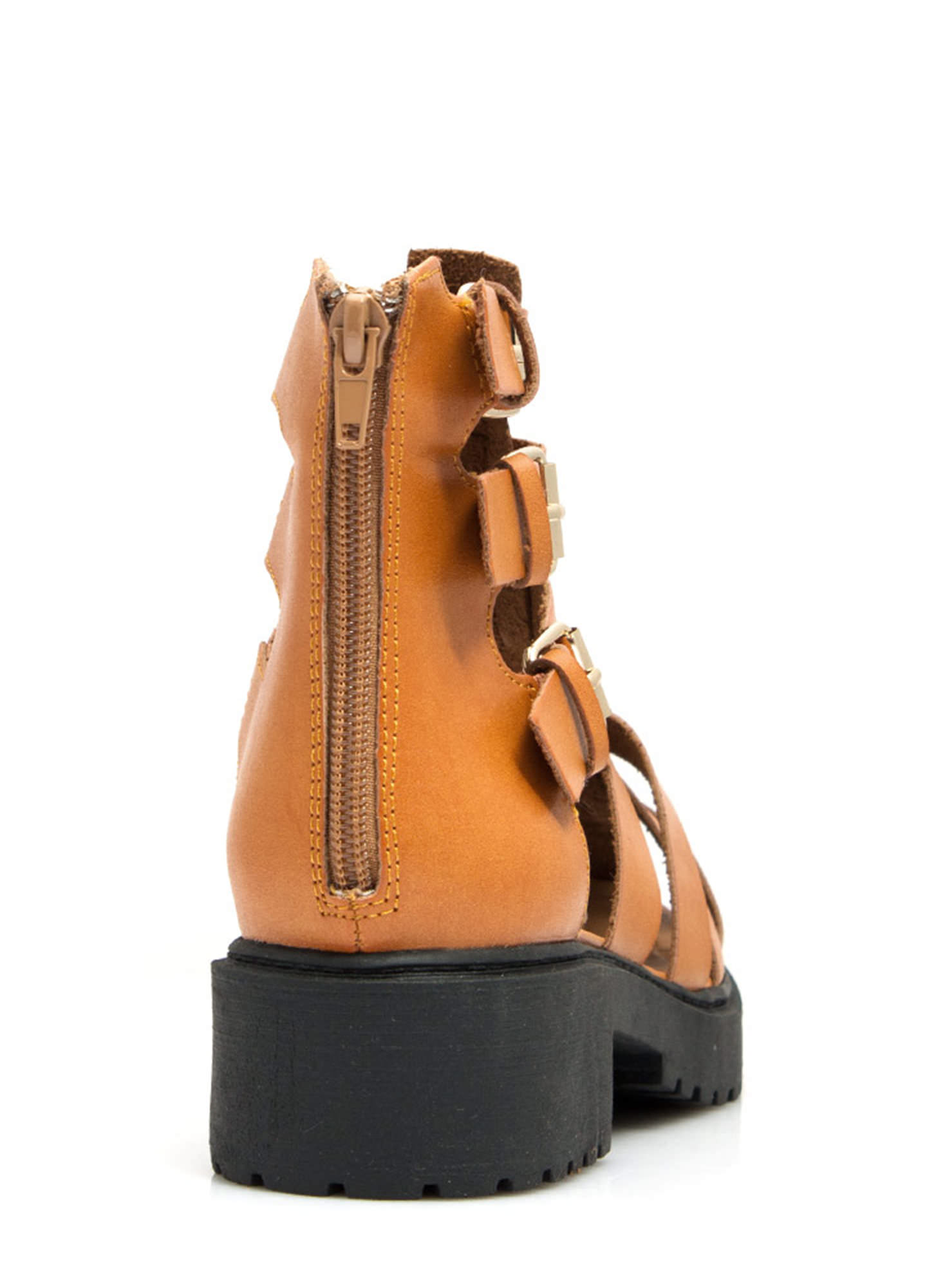 Tri-Cage Buckled Booties CAMEL (Final Sale)