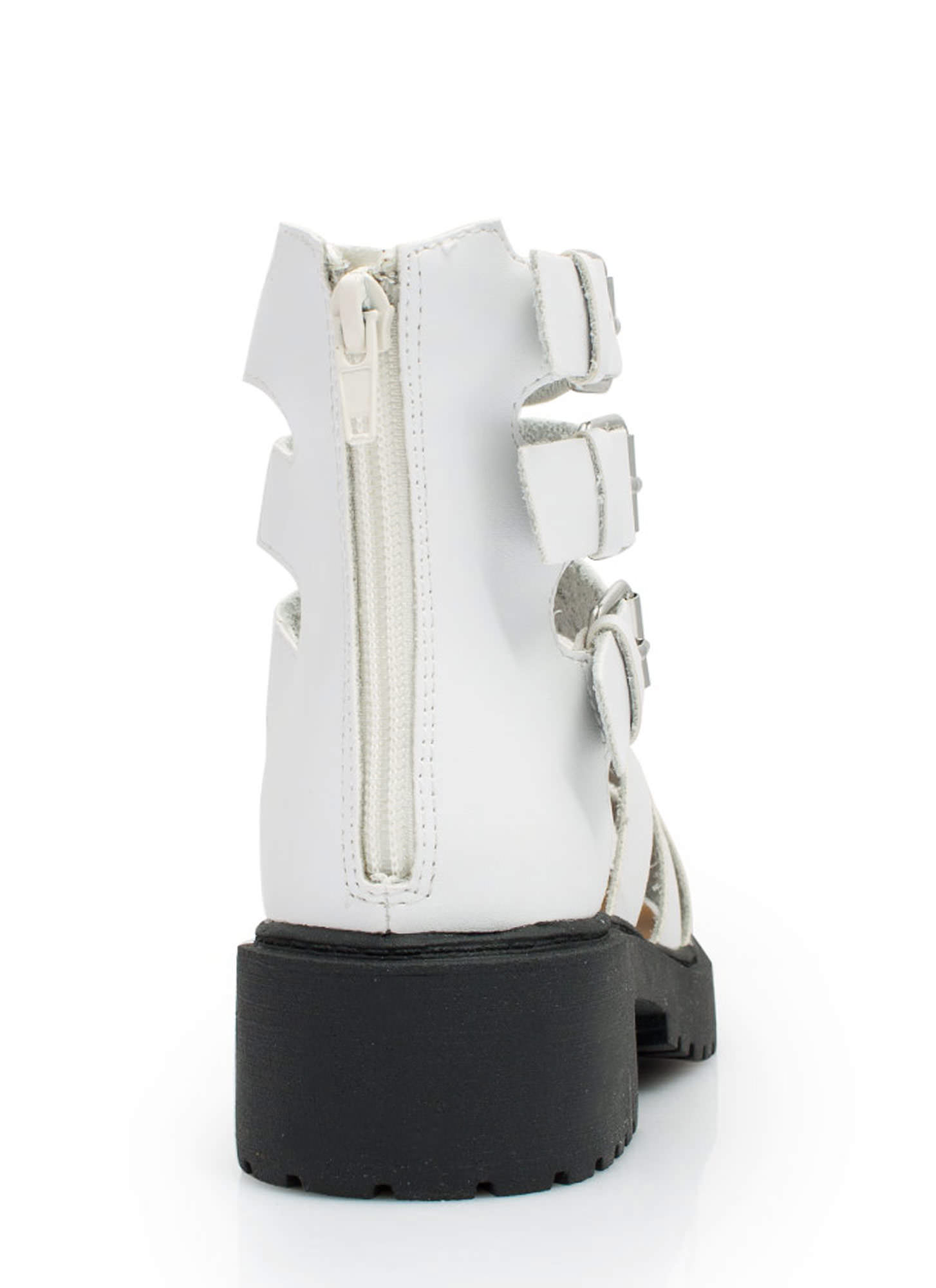 Tri-Cage Buckled Booties WHITE