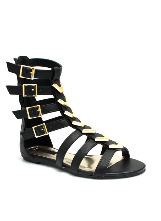Spectacle Girl Gladiator Sandals BLACK