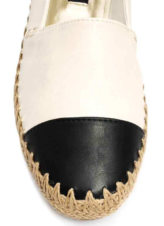 Coco Chic Faux Leather Espadrille Flats BEIGEBLACK