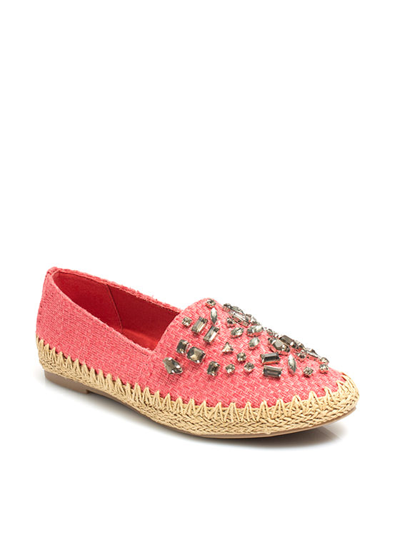 Daytime Sparkle Woven Espadrille Flats CORAL