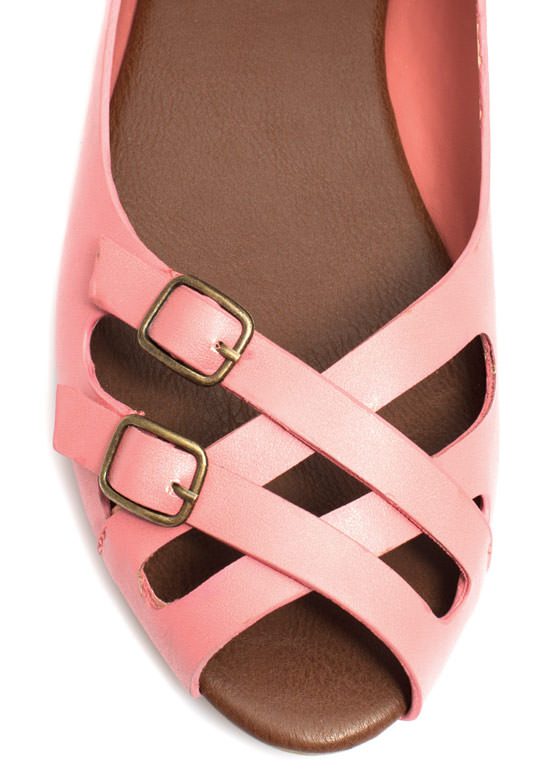 Double Crossed Buckled Peep-Toe Flats MELON