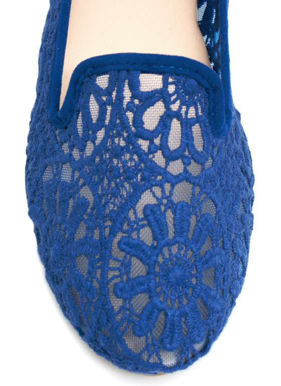 Lace Base Sheer Crochet Smoking Flats BLUE
